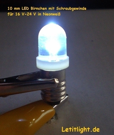10mm LED Neonweiß threaded -